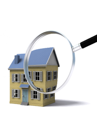 House with magnifying glass over it